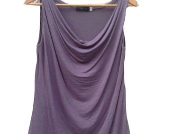 Drape shirt / Sleeveless shirt / Women top / Summer top / Gray blouse / Cowl neck / Tank  top / ON SALE
