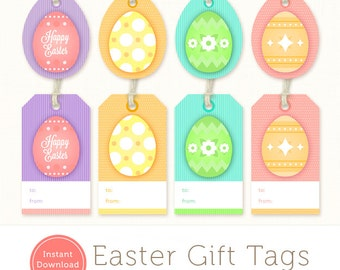 Printable easter bunny gift tags instant download by kooee printable easter tags easter gift tags instant download easter egg tags negle Gallery