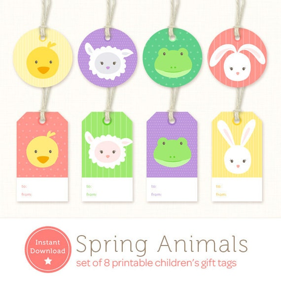 Instant download easter gift tags baby animals printable instant download easter gift tags baby animals printable gift labels printable easter tag duck lamb frog bunny baby gift tag pdf negle Gallery