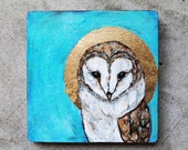Turquoise Barn Owl Painting.  Fine Art.  Original Pastel and Watercolor Painting