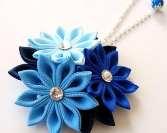 Kanzashi fabric flower hair clip. Shades of blue. Blue kanzashi. Blue hair clip.