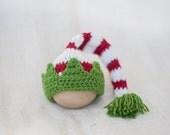 Knit Christmas Elf Hat, Santa Hat, Knit Santa Hat, Newborn Santa Hat, Newborn Christmas Photography, Newborn Christmas outfit, Child Youth