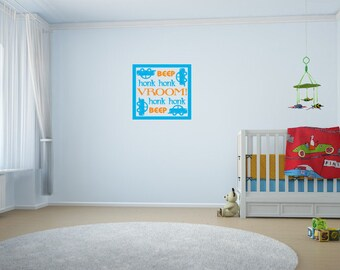Boy's Nursery Wall Decal, Cars Go Vroom Beep Honk Honk Nursery Bedroom Wall Art, Vinyl Decor, 12 x 12