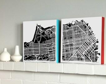 San Francisco Map, Woodblock-Mounted Prints, San Francisco Diptych