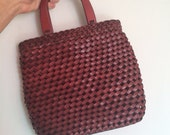 Vintage leather purse / Fossil braided leather handbag / Brown clutch / Woven Leather bag
