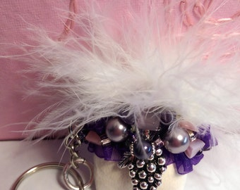Keychain Purple Pearls White Leather Mini Beaded Purse Gift