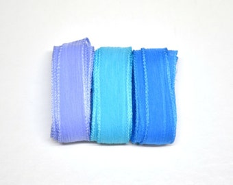 Hand dyed Silk Ribbons for bracelet necklace - Set of 3 - Carribean colors