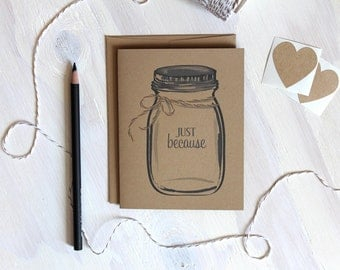 Set of 5 // Rustic Kraft Mason Jar Cards // Ball Jar Card // Just Because Cards // Stationery // Stationary // Thinking of you Cards