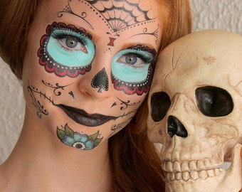 Sugar Skull  - Calavera - Temporary Costume Tattoos Makeup - Halloween