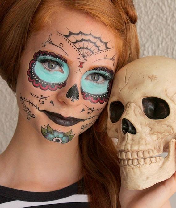 Sugar Skull  - Calavera - Temporary Costume Tattoos Makeup - Halloween