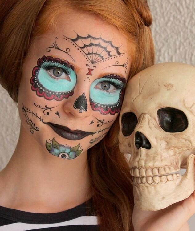 Sugar Skull Calavera Temporary Costume Tattoos Makeup