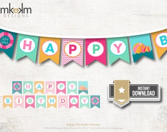 Pool Party Birthday Banner, Happy Birthday Banner, Girl's Pool Party, Beach Party Decor, Pink Summer Pool Party, INSTANT DOWNLOAD, #61