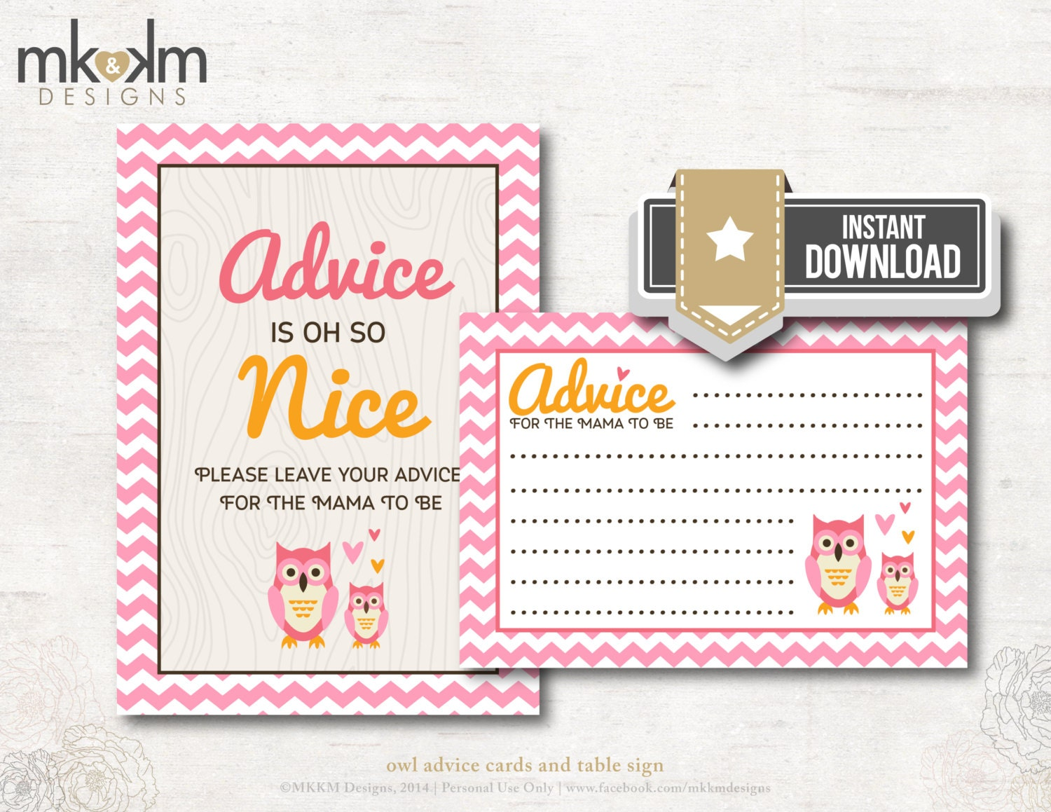 owl baby shower advice cards for mama to be shower by mkkmdesigns