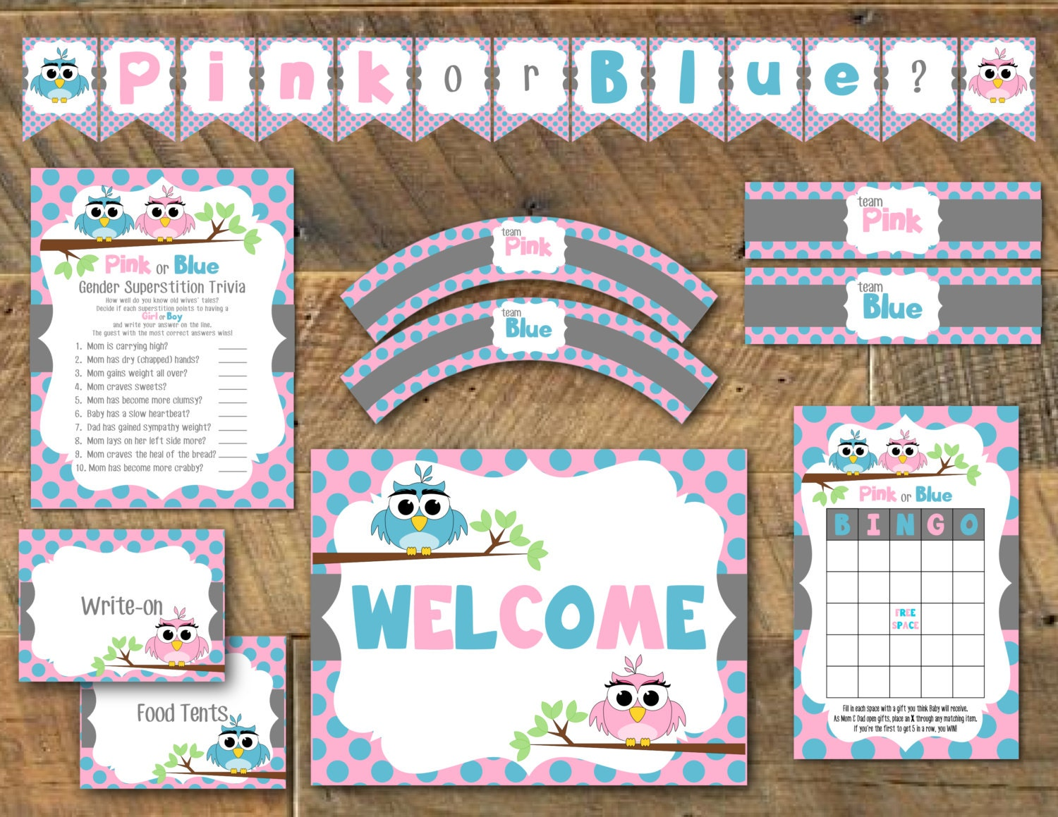 Printable owl gender reveal party pack owl baby shower for Baby shower decoration packs