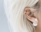 Double Ear Cuff Mise en Pearl Dainty Tribal Statement Earrings, Bloggers Favourite, Designer inspired (Gold)