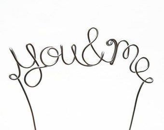You and Me Wire Wedding Cake Topper- Silver, Gold, Brown, Red, Black, Copper