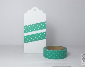seagreen WASHI TAPE with white polka dots