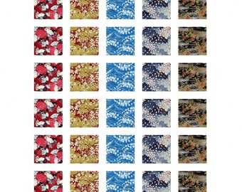 Yuzen 1X1 inch Square Digital Collage Sheet