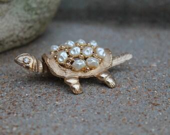 Vintage Signed Florenza Turtle, Pearl Jeweled Turtle, Nodder Turtle, 1950's, RARE