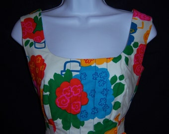 Vintage Malia Pink Green Turquoise Yellow Abstract Floral Flower Print Sun Dress 4 6 Small Deadstock