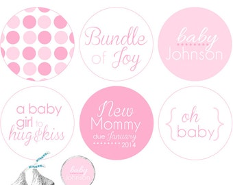 """BABY Shower. """"It's a Girl"""" stickers for Hershey's Kisses® Chocolate - Pink polka dot pattern .75 inch round"""