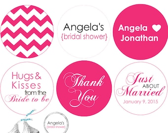 108 - Bridal Shower stickers for Hershey's Kisses® Chocolates - Chevron pattern .75 inch round