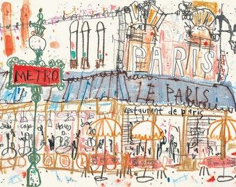 PARIS SKETCHBOOK - Paris Metro Art Print, Mixed media Painting, French Cafe Drawing, Paris Wall Art, Parisian Watercolor, Clare Caulfield