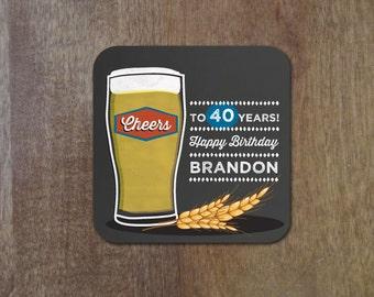 Happy Hour Birthday Beer Coasters