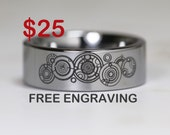 Top Quality TUNGSTEN Ring, 8mm Or 6mm Doctor Who Time Lord Design High Polish Pipe Cut Ring, Free Engraving