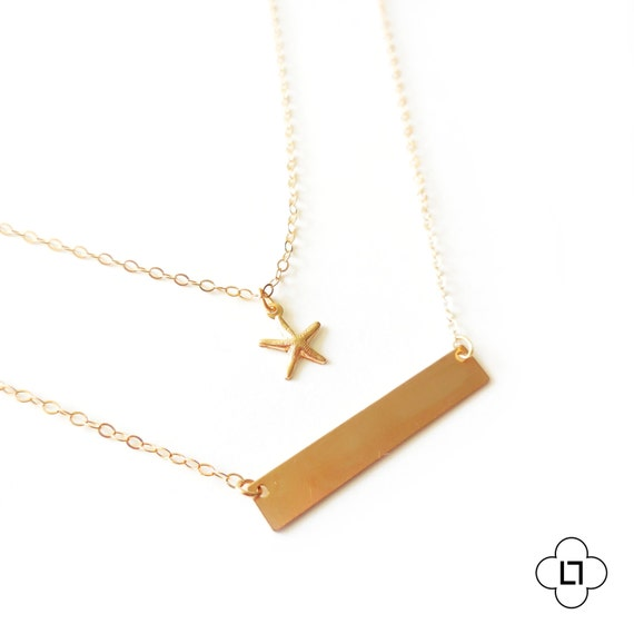 Delicate necklace, Gold Bar Necklace, Simple Gold Layer Necklace, Starfish Necklace, Gold Fill Necklace, Gold Layered Necklace