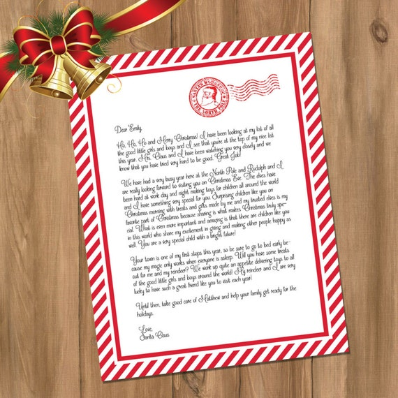 Personalized Letter From Santa - Custom Santa Letter Made Just for ...