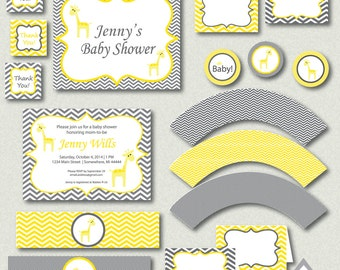 Yellow and Gray Chevron Giraffe Baby Shower with Invitation, Complete Party, Printable PDF, Gender Neutral Shower, Printable Invitation