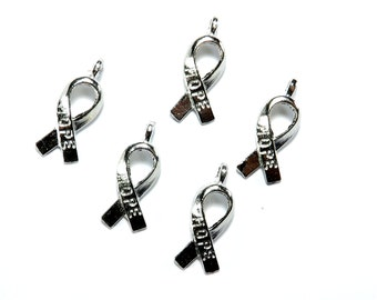Charms: Hope Ribbons, Breast Cancer Awareness, Set of 5, 19x18mm, Hope Charms, SLT087