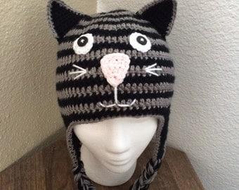Crochet Kitty Cat Earflap Hat - Custom Colors Baby Children Teen Adult Sizes Kitten Hat, Cat Hat, Kitty Hat
