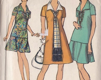 Simplicity 8844 Vintage Pattern Womens A-Line Dress, Over Blouse and A-Line Skirt Size 10
