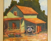 Garrod Farms, California landscape original plein air oil painting 9x9 framed