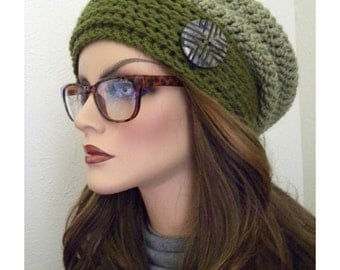 Green Slouchy Hat, Slouchy Beanie, Handmade hat, Crochet Slouchy Hat, Slouchy Hat with large button, Gift for Teen Girls, Two tone hat