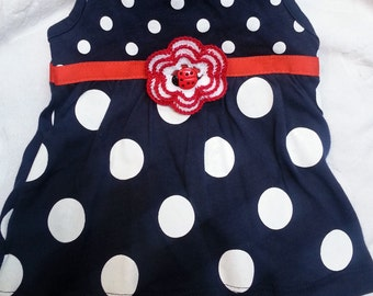 Baby Infant Girls Ladybug Set Outfit Romper All in One - Handmade Irish Rose - Red Blue White Polka Dots - One Size 6 months