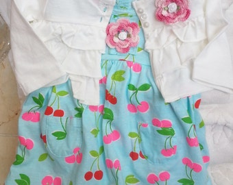 Baby Infant Newborn Girls Romper Dress Sundress Jacket Set Outfit - Handmade Irish Rose - Blue, White, Pink Cherries - One Size 3 months