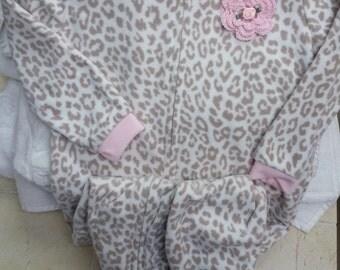 Girls Infant Toddler Cheetah Fleece Sleeper Pajamas - Handmade Irish Rose - Brown, White, Pink - Sizes 24 months and 2T, 3T and 4T