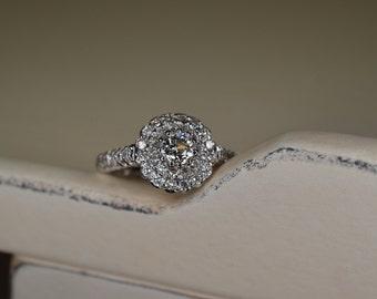 Old European Cut Diamond Ring (18K White Gold)