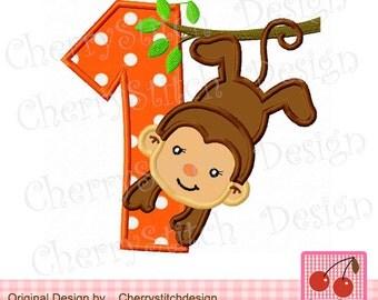 Birthday Monkey Number 1 Machine Embroidery Applique Design -4x4 5x5 6x6 inch-
