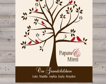 PERSONALIZED Family Tree Grandparent Gift : 8x10 Wall Art Print