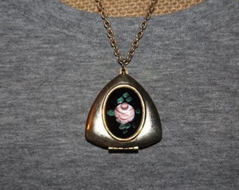 Large Vintage Locket Necklace With Hand Painted Flower
