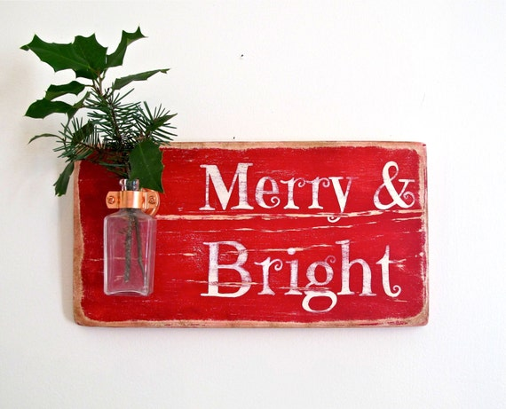 Wall Flower Vase, Merry and Bright, Christmas Decor, Signage, Christmas Gift, Home Decor, Antique Bottle