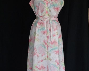 1960s 70s Dress / Abstract Pinks Day Scooter Dress w Zip Front & Matching Belt
