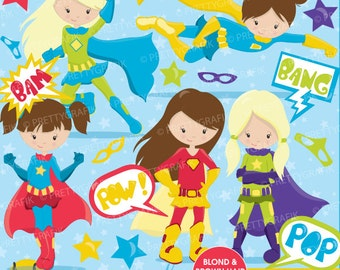 Superhero girls clipart commercial use, vector graphics, digital clip art, digital images - CL661