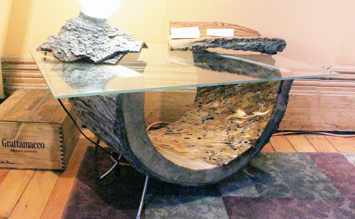 Live edge coffee table wood coffee table glass coffee table One of a kind coffee tables