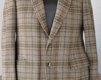 70s BROOKS BROTHERS Sports Coat | Mod Dinner Jacket. Vintage Plaid Sport Coat. Mens Retro Party Jacket. Hippie Tweed Blazer Jacket | Large