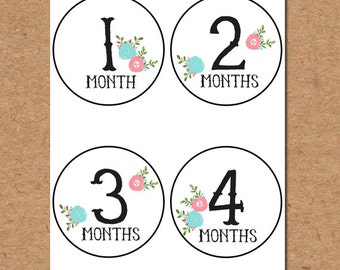 Printable Monthly Onesie Stickers- Girl Floral (1-12 months) Digital Download